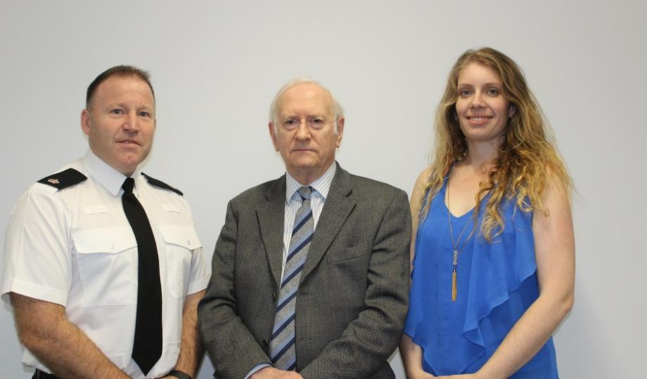 Dr Alan Billings with Rachel Staniforth and Temporary Superintendent Lee Berry